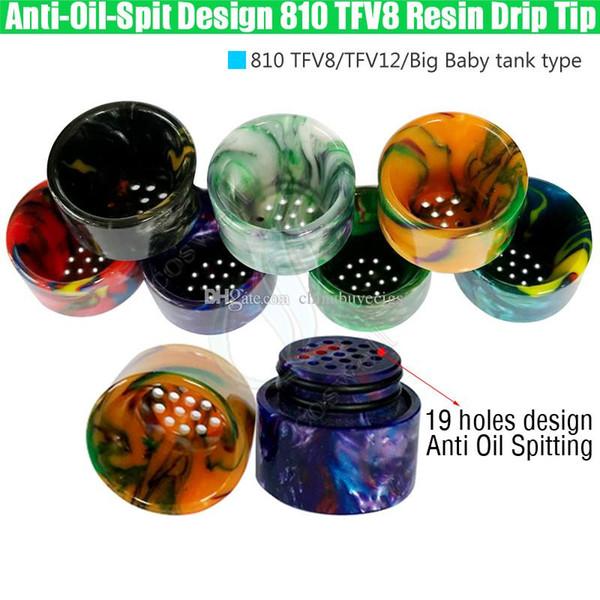 Newest Anti Oil Spitting 810 TFV8 Epoxy Resin Drip Tips Wide Bore Dripper Mouthpiece TFV12 Prince Tank No Spit Design Vape e cig Accessories