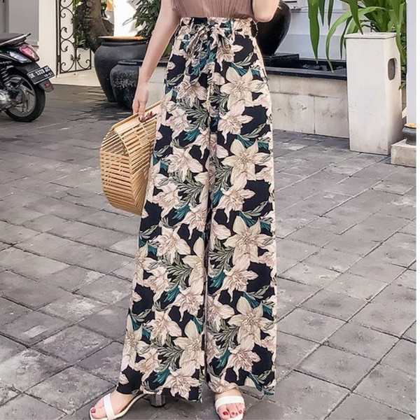 Pottis Real Shot Of New Holiday Thailand Big Yards Bohemia Wide Leg Fashion Beach Pants Q190531