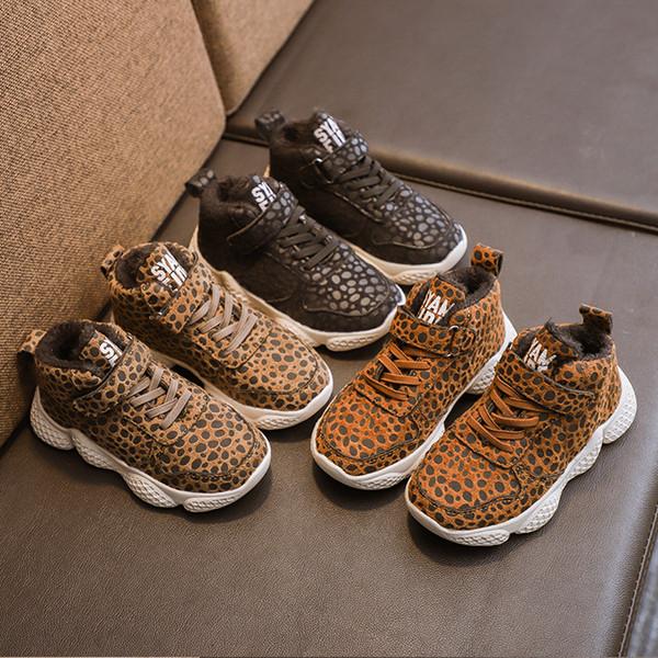 Zapatos con estampado de leopardo para niños para niños Zapatos casuales de 3 colores otoño e invierno bebés niños niñas zapatillas de deporte C5648