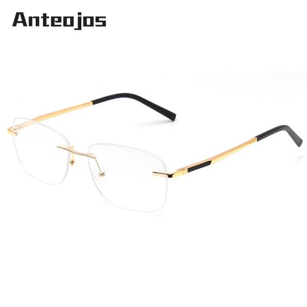 bea3bca7bdac ANTEOJOS Grandparents Rimless Eyeglass Frame Classic Golden Temple Spring  Hinge Frameless Optical Glasses Frame For Man Women
