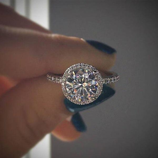 Moda rotonda cristallo strass gemma designer anelli di nozze 925 argento promessa anello da donna gioielli doni dimensioni 6-10