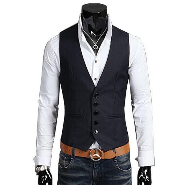 2018 nouvelle arrivée coton costume gilet hommes mode mince de remise en forme hommes gilet blazer tops robe vestes pour hommes J190420