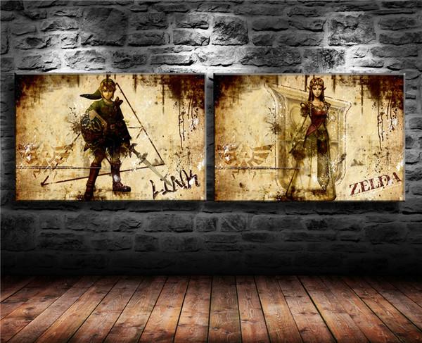 (Sem moldura / Emoldurado) Zelda, 2 Peças Home Decor HD Impresso Pintura Moderna Da Arte na Lona 16x24x2