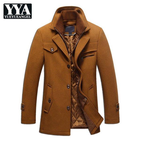 2018 New Winter Mens Casual Laine Manteaux De Mode Poche Solide Bouton Épais Chaud Survêtement Business Slim Fit Manteau Plus La Taille M-3XL
