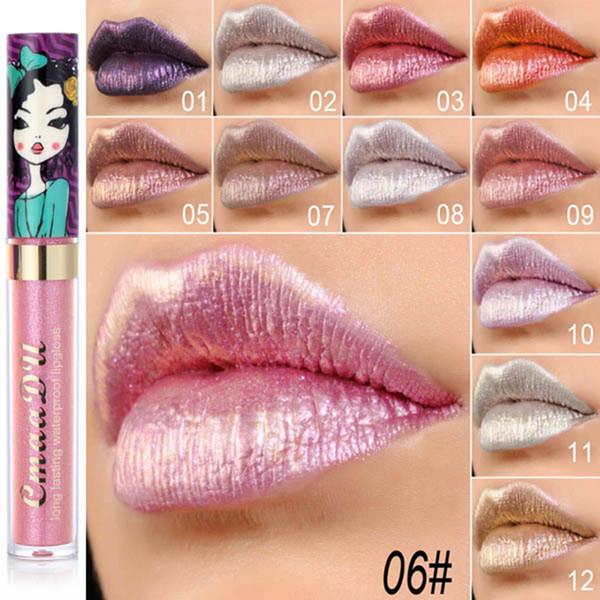 Cmaadu brillo brillo de labios belleza niña diamante brillo brillo de labios resistente al agua de larga duración 12 colores flash flash lápiz labial