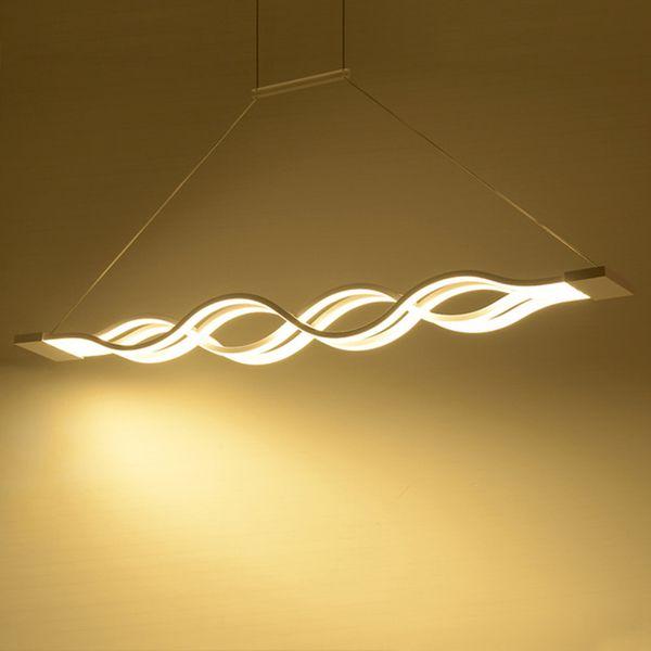 120cm blanc noir moderne pendentif lumières pour salle à manger livingroom cuisine dimmable led lampe suspendue lamparas forme d'onde