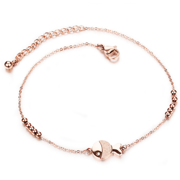 Fashion Creative Ladies Beaded Beach Anklet High Quality Rose Gold Delicate Crystal Simple Anklet Holiday Gift 3-GZ014