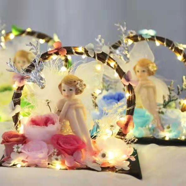 Вечная Роза LED Night Light Романтические Сохраненные Розы Цветок В Стекле на День Святого Валентина Подарок На День Рождения Свадьба Декор