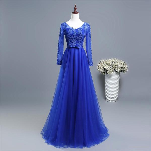 Длинные рукава Формальные Вечерние платья Wear 2020 Royal Blue Long вечерние платья Bling шнурка Аппликация женщин платье партии Elegant