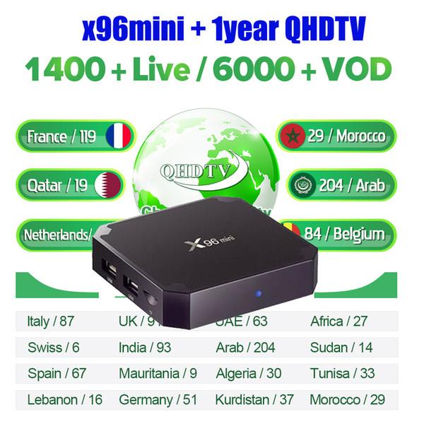 QHDTV 1 ano de subscrição de conta original TV Set Top Box X96mini 1G8G Europeia completa Árabe Francês QHDTV SUBTV África m3u smart tv