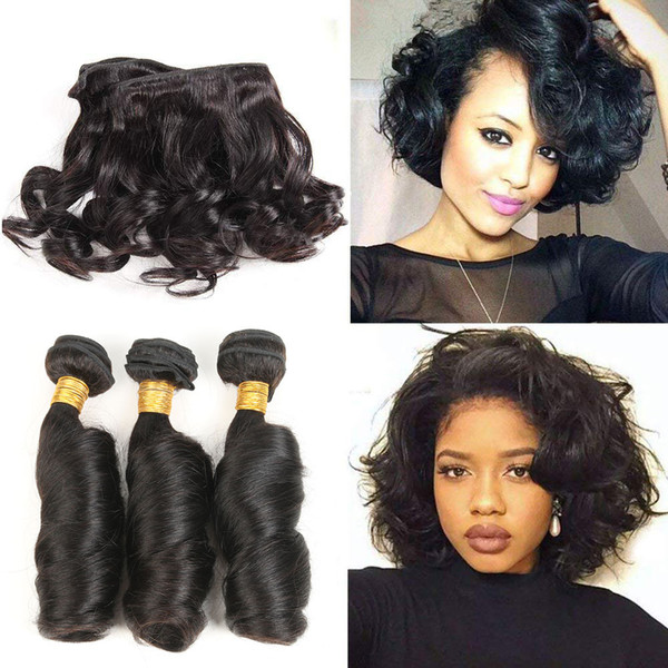 Remy Human Hair Bundles Indian Funmi Curly Hair Weaves Extensions Spring curl Hair Bundles 3 pcsFree Shipping