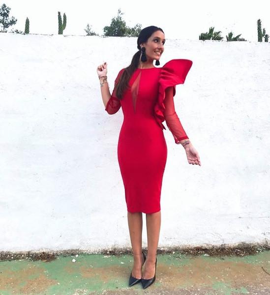 Sexy Muslim Dubai Arabisch Langarm Abendkleid Plus Size Red Short Mermaid Abendkleider Lange 2019 Cocktail Homecoming Kleider