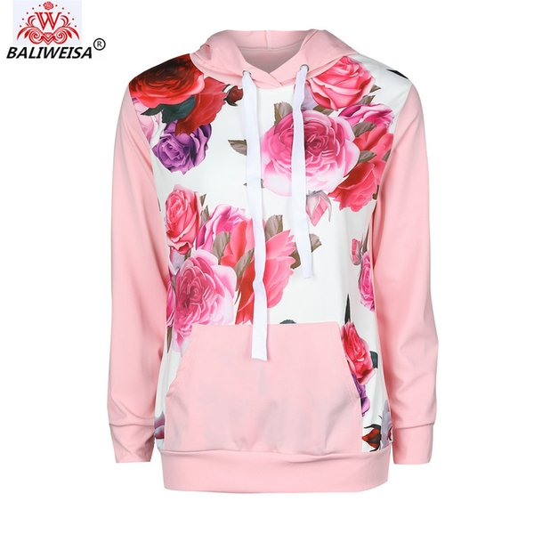 Women Casual Floral Rose Hoodies Sweatshirt Loose Pullover