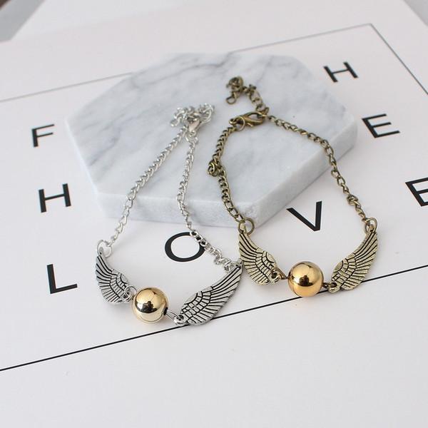 top popular Golden&Silver snitch Bracelet Harry wings bracelets Potter vintage for men women 2021