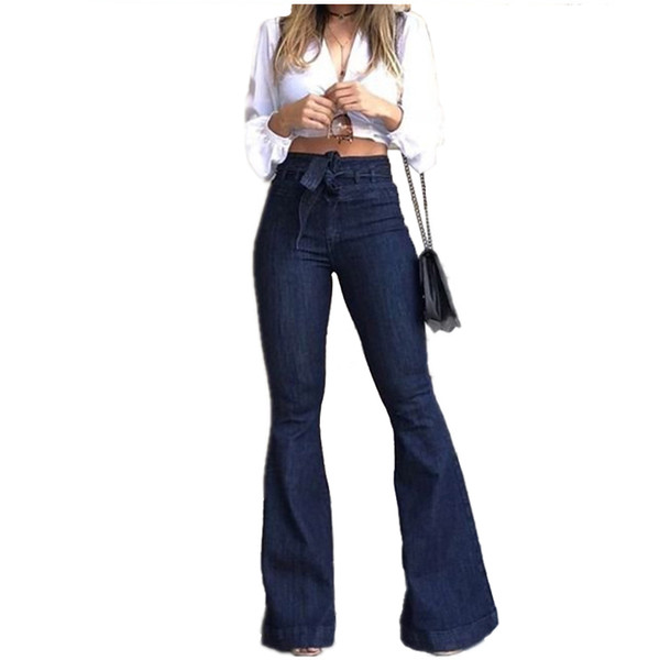 February Brand Designer Jeans for Women Female High-waisted Jeans Mon Micro Elastic Cotton Bell-bottom Jeans Washed Denim Wide Leg Pants