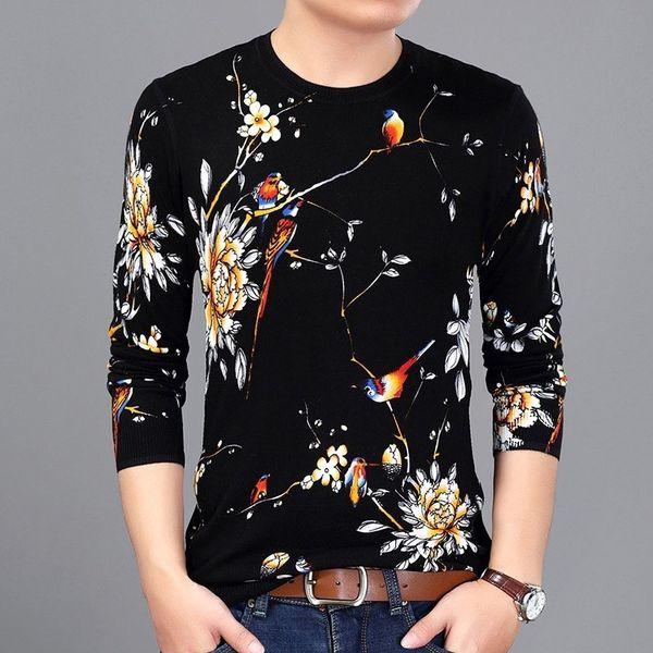 2019 Spring Fashion Flowers Bird Printed Sweater Mens Pullover Chompas Hombre Erkek Kazak Sueter Hombre Slim Fit Pull Homme Mens
