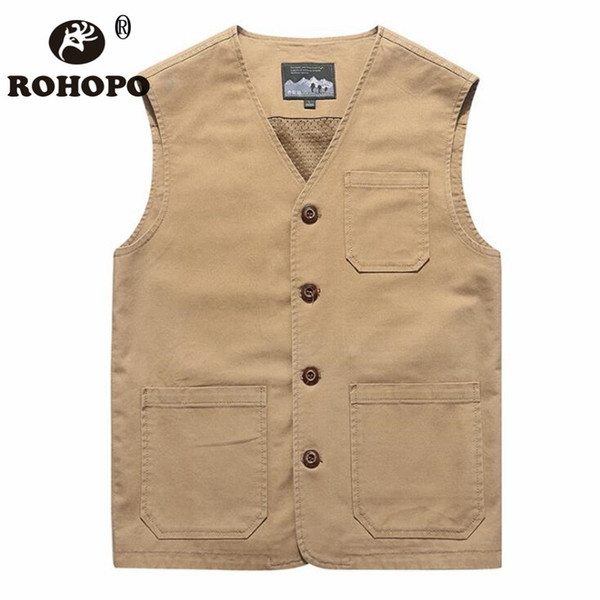 rohopo cotton vest man 2019 6xl 7xl 8xl oversize water washed safari casual sleeveless jacket vneck pockets tooling vest men
