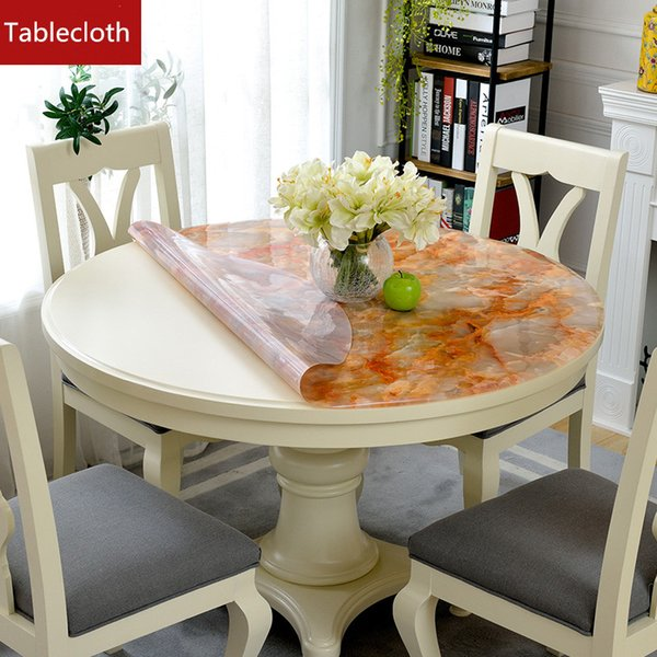Imitation Marble Round Tablecloth Waterproof Table Pad PVC Soft Glass  Crystal Plate Round Table Cloth Mat Plastic Tablecloth Round Tablecloths  Cheap ...