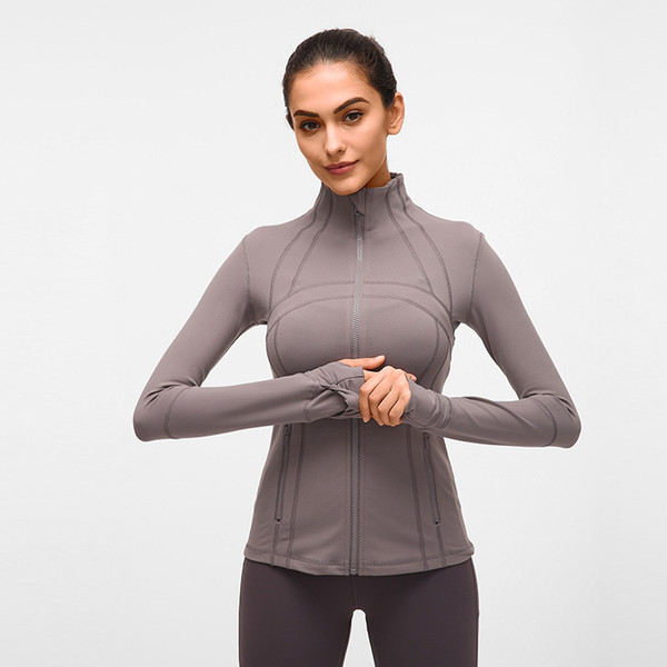 top popular LU-78 Women's Yga Slim Seamless Running Jacket Gym Long sleeves Fitness Workout Quick Dry Elastic Zippered Outdoor Sports Jacket 2019