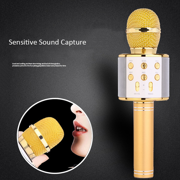 Bluetooth wireless Microphone Bluetooth Karaoke MIC Speaker Record Music USB KTV Player Bluetooth Mic For Cell Phone Tablets PC