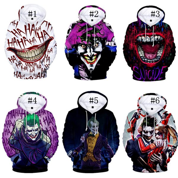 Designer Pullover Streetwear Coats Joker Funny Hoodie Halloween Crazy Smile Long Sleeve Casual T shirts Fashion Brand Sweatshirt C73101