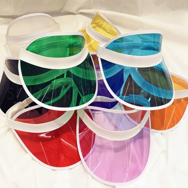 top popular Fashion Transparent Sun Visor Hat Creative Clear Plastic Empty Top Cap Outdoor Travel Beach Sunscreen Sun Hat 2020