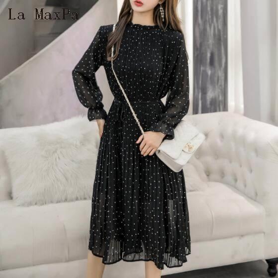 Primavera outono senhora longo chiffon dress 2019 novo coreano moda feminina manga comprida polka dots vestidos plissados preto roupas vintage q190409