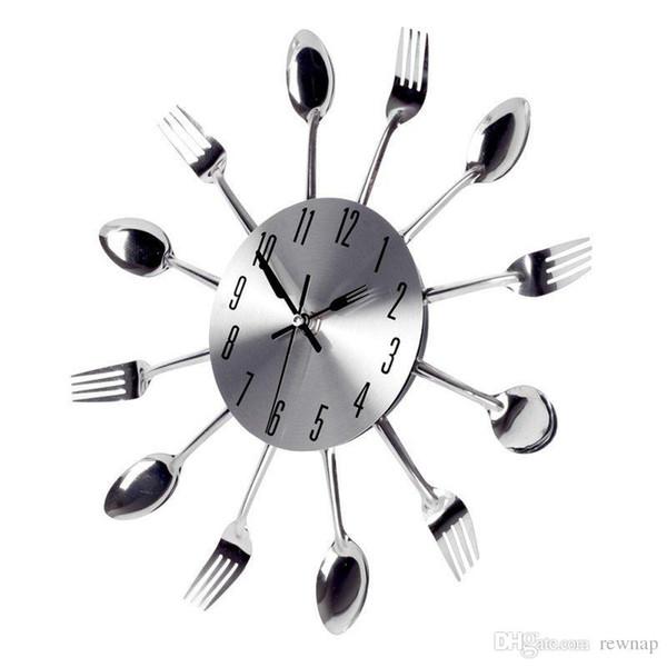 Acquista All\'ingrosso Grande Orologio Da Parete 3D Design Moderno Orologio  Da Cucina In Acciaio Inox Orologio Da Quarzo Di Qualità Orologio A Forma Di  ...