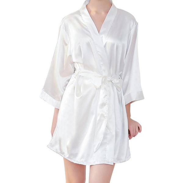 Simulative Silk Women's Night Gown Embroidery Thin Type Cardigan Style Dressing Gown Wedding Makeup Bride Robes