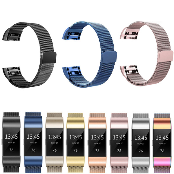 Stainle teel magnetic milane e loop band for fitbit charge 2 replacement wri tband trap for fitbit charge 3 watchband