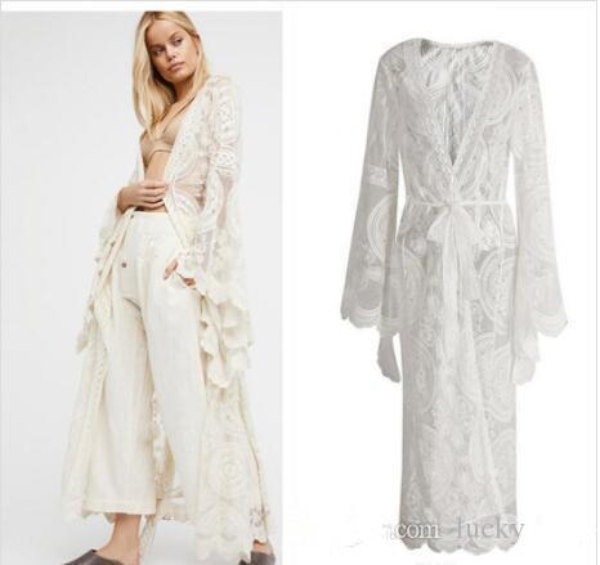 Spring and summer Bohemian vacation Lace Cardigan Female style Long sleeves Long cardigan Shawl Kimono Sun Protection Clothing dress