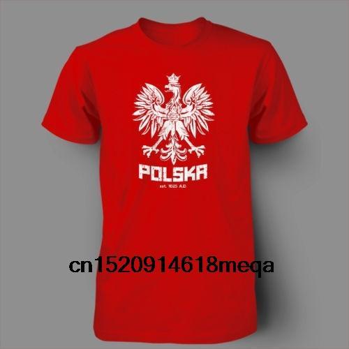 Homem Primavera 2014 Polska Polonês Dança Futebol Polónia Futebol T-shirt de Manga Curta