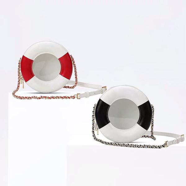 2019 new transparent PVC stitching leather crossbody bag famous brand designer handbag fashion luxury round shoulder bag