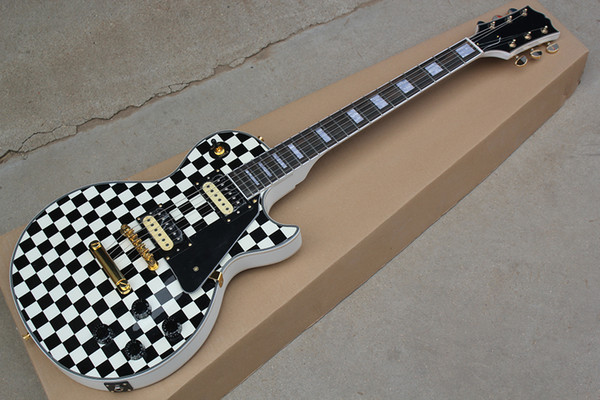 Factory Custom Black and White Electric Guitar With Rosewood Fretboard,White Pearl Fret Inlay,Chrome Hardware,Offer Customized