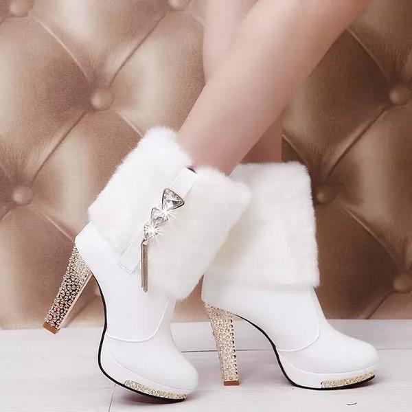 Magic2019 Martin Kaba Çizmeler Kadın Rhinestone Kürk Ile Yüksek Olacak Kod Çizmeler Ile Kadın
