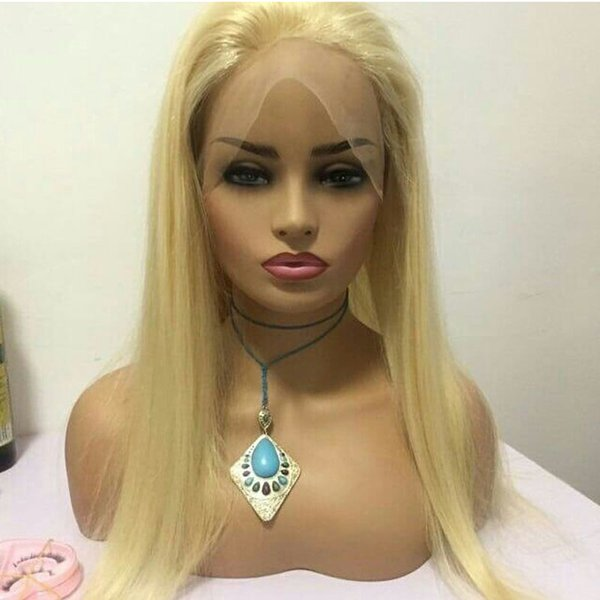100% European Human Hair blonde Lace Front Wig Middle Part Straight 613 Full Lace Wig Free Shipping