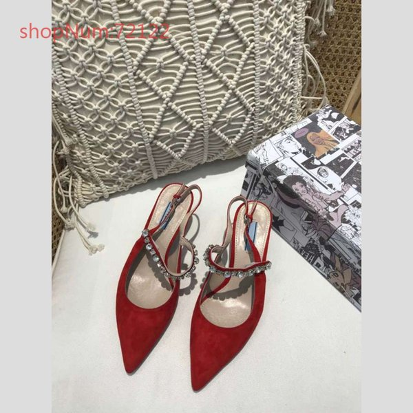 Best quality luxury fashion designer shoes pointed toes sandals with high heels party crystal decoration wedding shoes pink red black