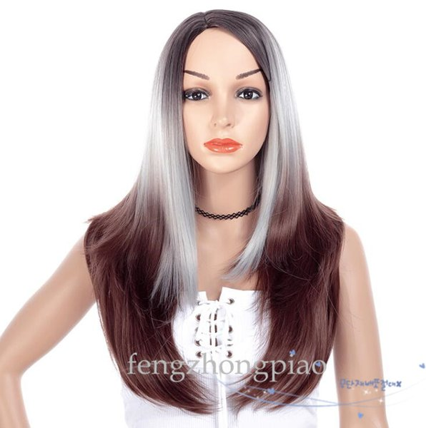 FZP Glueless Long Straight Wigs Omber Silver Honey Brown Color Wig Synthetic hair wigs malaysia hair For Black Women