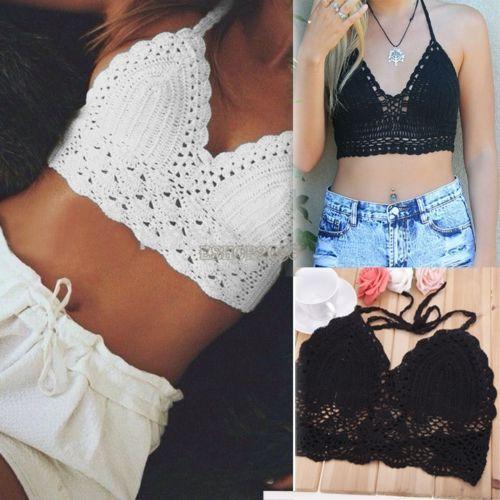 -Womens Bralette Halter Neck Crop Top Knit Crochet Cami Summer Bikini Blouse Bra summerr tops