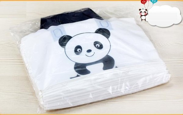 50pcs Lovely Thank You Gift Shopping Bag Thicken Plastic Wedding Party Favor Bags white panda logo bolsa de regalo de plástico con asa
