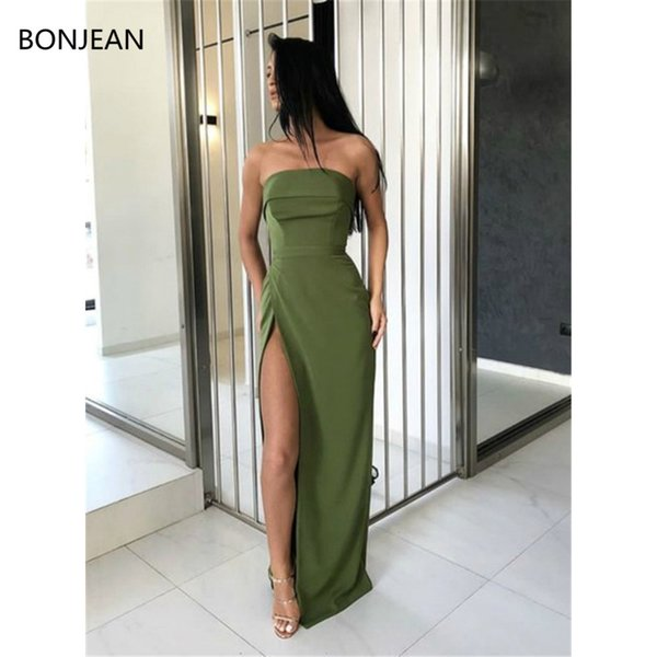 satin mermaid dress fashion strapless green sheath slit long prom dresses formal fancy evening dress gowns