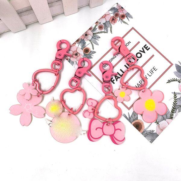 Cartoon couple key ring female Korean creative car bell small pendant pink bow heart flower lovely package key ring gift