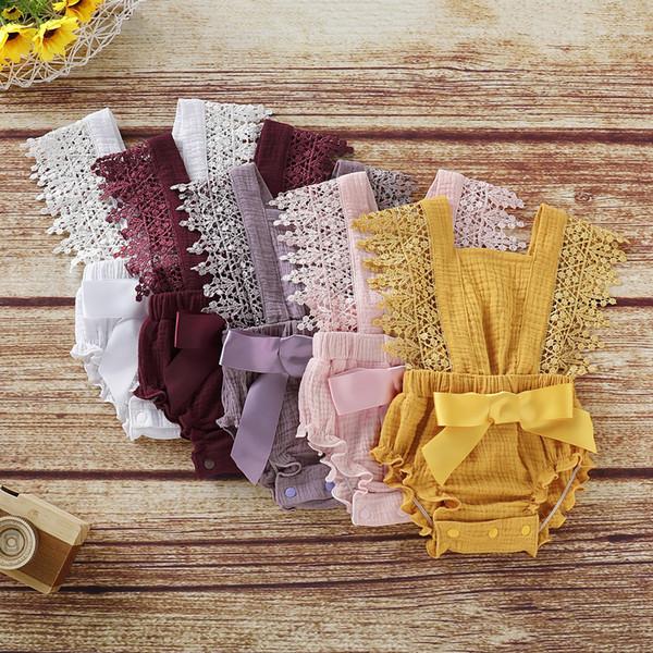 Princesa INS bebê recém-nascido roupas da menina romper arco de renda roupas 5 cores branco / vermelho escuro / roxo / rosa / amarelo 70 80 90 100 crianças roupas 0-24 M