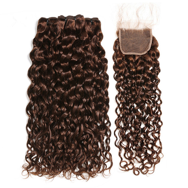 Chocolate Brown Brazilian Wet and Wavy Human Hair 3Bundles with Closure #4 Dark Brown Water Wave Virgin Hair Lace Closure 4x4 with Weaves