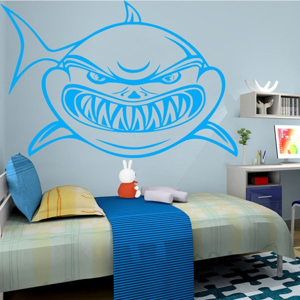 Fierce Shark Wall Stickers Modern Fashion Wall Sticker Home Decoration Accessories For Kids Room Background Wall Art Decal Wall Decor Tree Stickers
