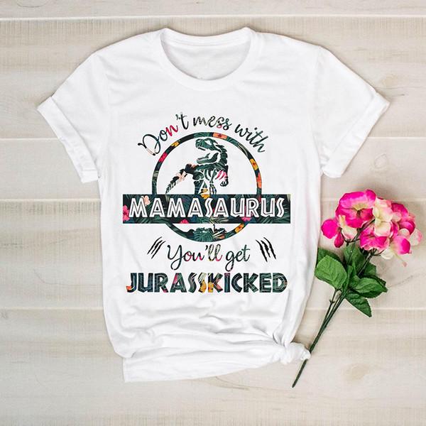 Non scherzare con Grandmasaurus Avrai una maglietta floreale giurassicata Donna Divertente Dinosauro Mamma T-shirt Regalo per la festa della mamma