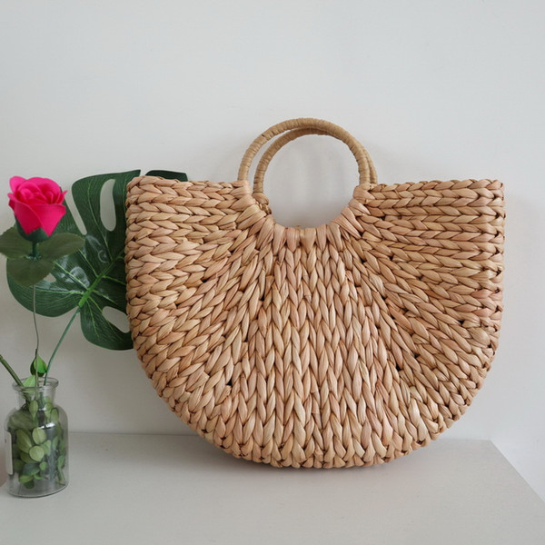 Femmes demi-cercle Art Beach Bag En Plein Air Voyage Photos Accessoires Sac De Paille Fashion Lady Woven Moon Fresh Sac À Main TTA569