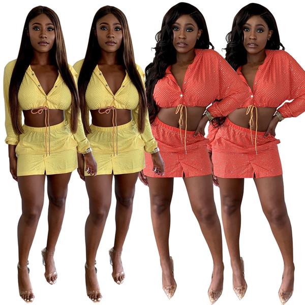 Shiny Sequined Sexy Women Party Set de dos piezas, tamaño puls, con capucha, manga completa, top y parte delantera, dividida, mini vestido