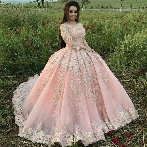 Einzigartige Prinzessin Rosa Ballkleid Quinceanera Kleider Boat Neck Langarm 3d floral Applique Sweet fünfzehn Victorian Formaler Arabischer Prom 2018