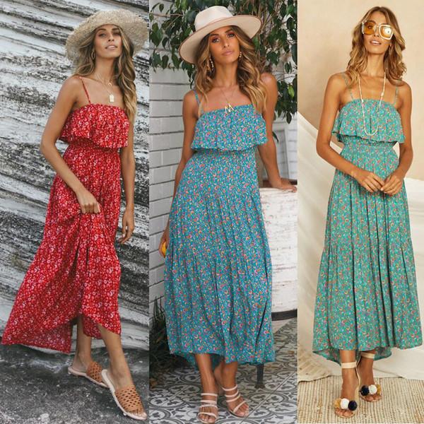 best selling Off Shoulder Floral Print Slip Dress Women Ruffles Split Bohemian Beach Maxi Dresses Female Summer Vacation Holiday Seaside Long Dress New